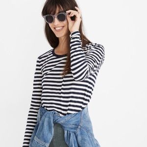 madewell lydia stripe whisper cotton long sleeve L